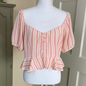 Forever 21 button down peplum top with low neck